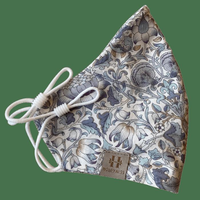 homeyness mundbind 3 lag med liberty fabrics i lodden grey